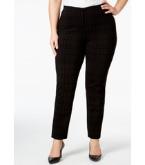 alfani plus size hollywood printed skinny pants, created for macy's