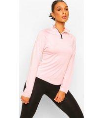 sportieve raglan top met hoge hals, pink