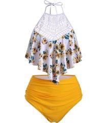 sunflower crochet panel ruched halter tankini swimsuit
