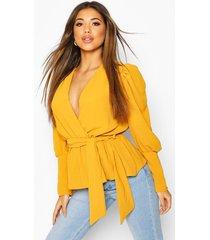 puff sleeve wrap blouse, mustard