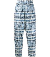 barena cropped tie-dye pattern trousers - blue