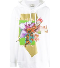 acne studios logo and floral print hooded sweater - white