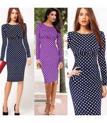 women vintage polka dot long sleeve knee-length casual bodycon pencil dress