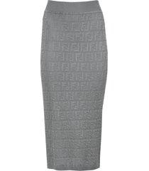 grey ff logo print midi skirt
