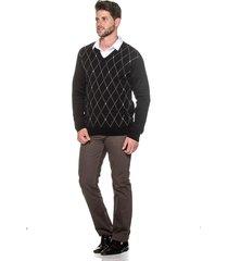 suéter passion tricot jacar losango preto