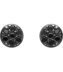 orecchini a lobo in oro bianco con diamanti neri 0,07 ct per donna