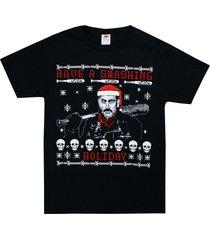 walking dead negan have a smashing holiday christmas santa bat tee shirt small