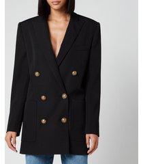 balmain women's 6 button boyfriend jacket dress - black - fr 40/uk 12