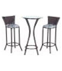 conjunto bistrô mesa alta e 2 banquetas moscou pedra ferro a06 para cozinha edicula bar varanda