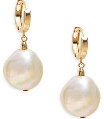 14k yellow gold & 15mm-16mm white baroque freshwater pearl drop earrings
