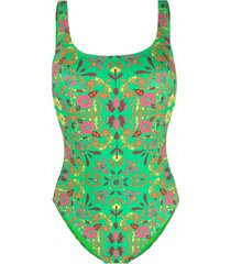 tory burch floral-print square-neck swimsuit - green