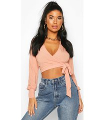 petite ribbed wrap crop top, peach