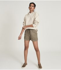 reiss dalila - cotton blend casual shorts in khaki, womens, size 12