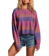 women's volcom neon signs stripe sweater, size medium - pink