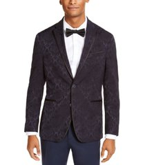 kenneth cole reaction men's slim-fit navy jacquard evening jacket, created for macy's