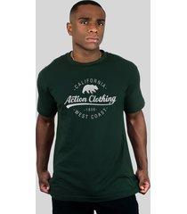 camiseta action clothing santa monica verde musgo - verde - algodã£o - dafiti