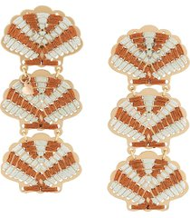 mercedes salazar embroidered shell earrings - orange