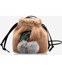 fruit detail faux fur fluffy crossbody bag