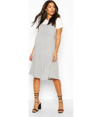 maternity 2 in 1 smock dress, grey marl