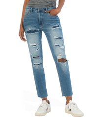 women's kut from the kloth rachael fab ab rip & repair mom jeans, size 16 - blue