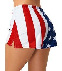 multicolor slit diseño shorts de cintura con cordón y estampado de estrellas y rayas