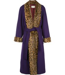 gucci leopard print trimmed belted coat - purple