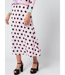 olivia rubin women's penelope skirt - black/pink polka dot - us 8/uk 12