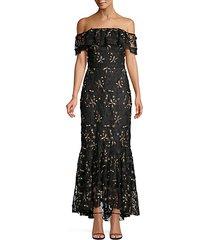metallic floral off-the-shoulder flounce dress