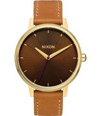reloj kensington leather light gold manuka nixon