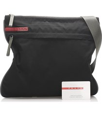 prada tessuto crossbody bag black, gray sz: m