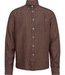 button down linen shirt skjorta casual brun eton
