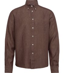 button down linen shirt skjorta casual brun eton