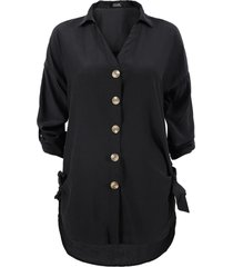 blusa nrg botones manga larga negro - calce regular