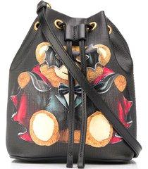 moschino bat teddy bear bucket bag - black