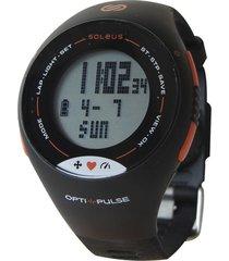 reloj monitor sin banda soleus pulse negro/naranja