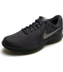 tenis running azul-negro-plateado nike revolution 4