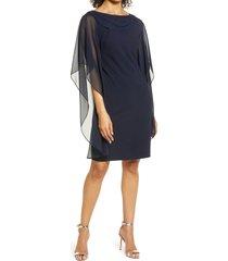 women's vince camuto cape sleeve cocktail dress, size 4 - blue