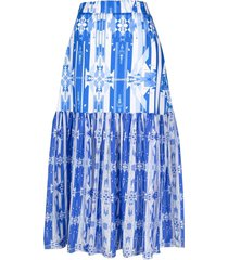 jessie western geometric-print rara skirt - blue