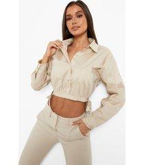 korte blouse met elastische taille en strik, stone