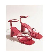 sandália feminina dvf salto reto médio tiras finas pink