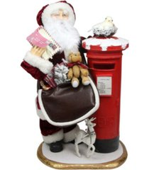 "northlight 24"" decorative santa claus with satchel and mailbox christmas decoration"