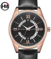 reloj de cinturón de moda de calendario para hombre-negro
