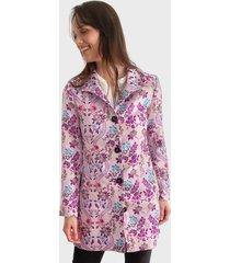 abrigo desigual lila - calce regular