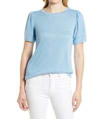bobeau embroidered puff sleeve top, size large in dusk blue at nordstrom
