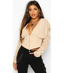 corset style long sleeved top, stone