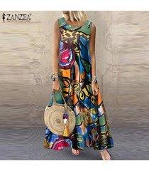zanzea vestido largo sin mangas de verano para mujer kaftan vestido estampado retro vintage -verde