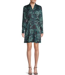 floral-print belted faux-wrap mini dress