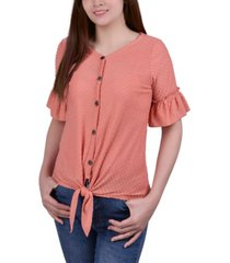ny collection petite swiss dot short sleeve tie front top