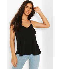 recycled strappy tank top, black
