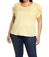 plus size women's bobeau puff sleeve cotton t-shirt, size 3x - yellow